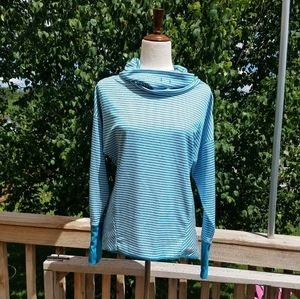 RBX Blue Striped Cowl Neck Active Shirt